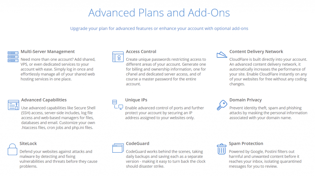 Bluehost Advanced Plan Addons