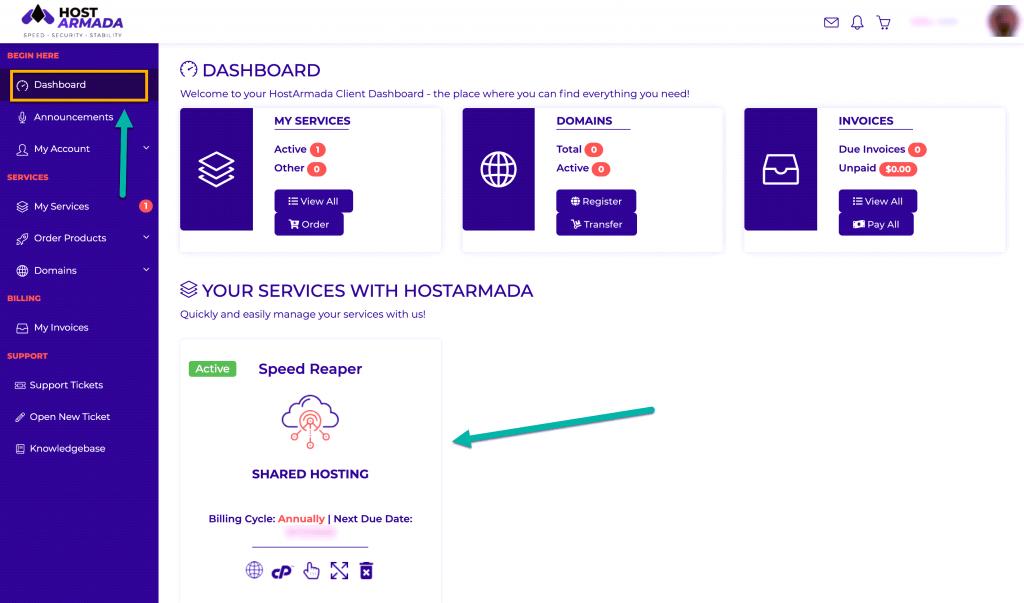 HostArmada Dashboard